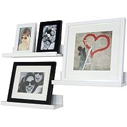 BD ART Lot de 3 étagères murales, Blanc, 35 x 10 cm