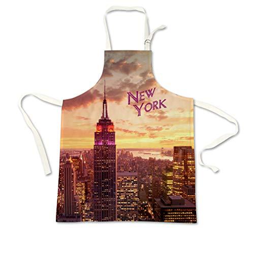 Sweet Gisele New York NYC Kochschürze, 3D-Druck, Kochschürze, tolles Geschenk für Zuhause, Küche, Souvenir, weich, Reisezubehör, 1 Größe, verstellbar One Size Fits All Orange