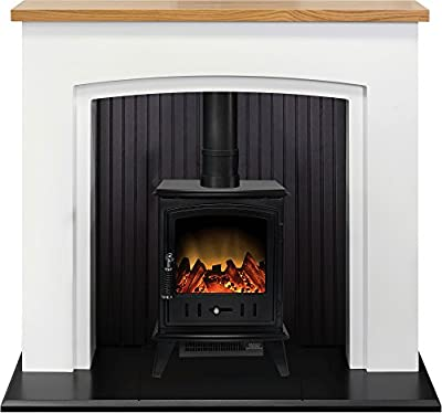 Adam Siena Stove Suite in Pure White with Aviemore Electric Stove in Black, 48 Inch