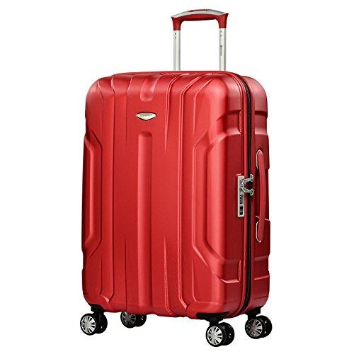 Eminent Valigia X-TEC 66cm 70L Guscio duro in policarbonato Superficie anti-graffio 4 Ruote doppie Lucchetto TSA Rosso