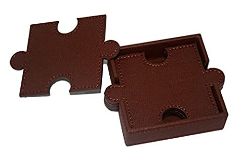 WOOSAL 6 Pieces Double-deck Puzzle Leather Coasters with Coaster Holder (Brown)