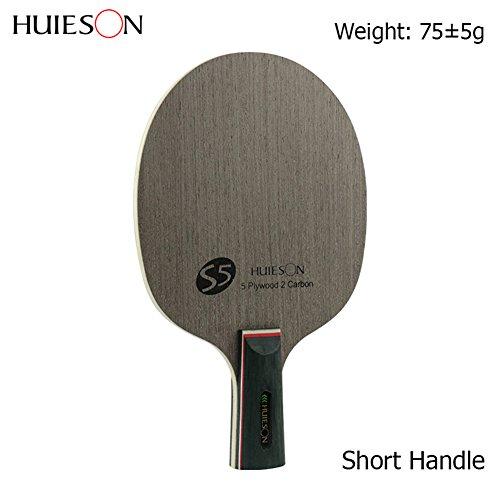 Prom-near Nano Carbon Tischtennis Blade 7 Ply Ayous Holz mittlerer Geschwindigkeit Ping Pong Schläger Tischtennis Blade, Zwei Größe (Short Handle)