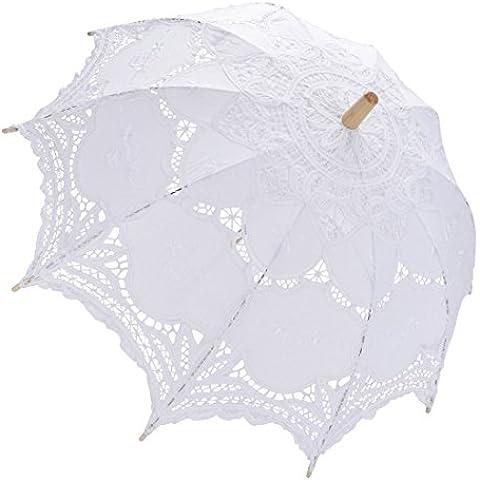 muitobom matrimoni ricami in pizzo ombrello bianco Vintage artigianale ombrellone