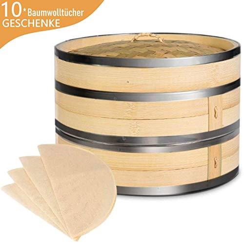 KYONANO Dampfgarer Bambus, 2 Etagen Bambusdämpfer 24cm mit Deckel + 10 Baumwolltücher, Bambus Dampfkorb Dämpfaufsatz mit Edelstahlstreifenbildung für Reis, Dim Sum, Gemüse, Fleisch