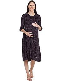 Mine4Nine Women's Rayon Maternity Midi Dress (Black, MNDR5701)