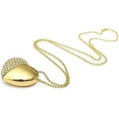 Idea Regalo - Chiavetta USB da 64 GB, a forma di cuore, con cristalli oro gold