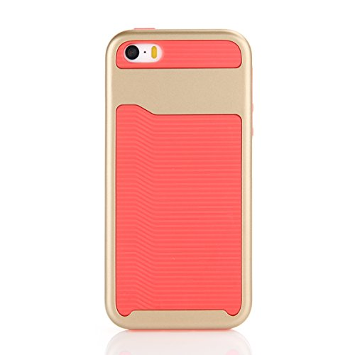 Per iphone 5 5S SE Custodia, Ekakashop di lusso Hybrid Heavy Duty antiurto morbido silicone Gel & Rigida PC 2-in-1 non Layer antiscivolo Anti-dirt Protezione Protettivo Cover Case per Apple iphone 5 5 Rossa