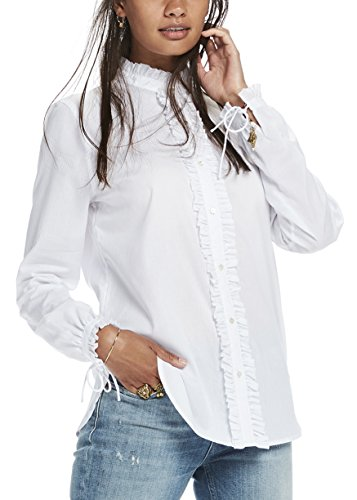 2 Button-up-shirt (Scotch & Soda Maison Damen Hemden Button Up Shirt With Small Ruffle Details, Weiß (White 06), 38 (Herstellergröße: 2))