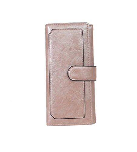 H&W Donna Tri-fold PU Pelle Frizione Portafogli Borsa Oro Rosa