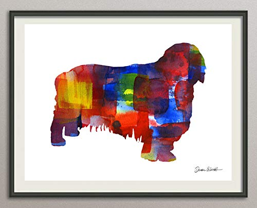 clumber spaniel Rasse Hunde Hunderasse Fine Art Print Aquarell Silhouette Profil Poster Kunstdruck Plakat modern ungerahmt DIN A 4 Deko Wand Bild -
