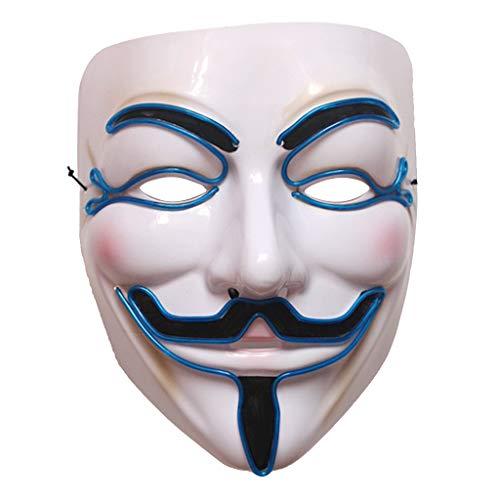 (Dabixx Halloween Vendetta LED Maske Leuchtende Cosplay Maskerade Kostüm Party AccessoryBlue)