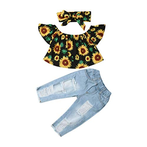 LSAltd Mode Sommer Kleinkind Baby Mädchen Sonnenblumen Rüschen Kurze Tops + Jeans + Sonnenblumen Bowknot Stirnband 3 Stücke Outfits Set