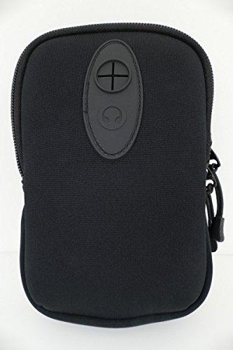 Gürteltasche Hüfttasche Neopren zwei Fächer leicht ideal für Smartphone Handy oder Kompaktkamera Schwarz mit Karabiner und Kopfhörerausgang