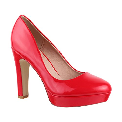 Elara Damen Plateau Pumps | High Heels Lackoptik | Vintage Schuhe | Chunkyrayan 7263-GL Red-39