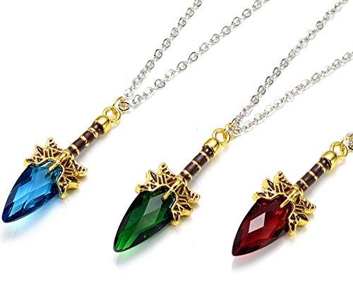 Halskette Halsanhänger Halsschmuck Kette Wappen dota 2 Aghanim's Scepter Zepter Schwert mit Kristall Accessoires muss für jeden Fan Farbe nach Wahl (blau) - 1 Dota