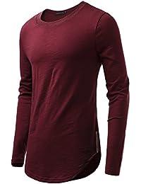 HEMOON Homme T-shirt à Manches longues Slim Col rond Confortable en Coton Elastique