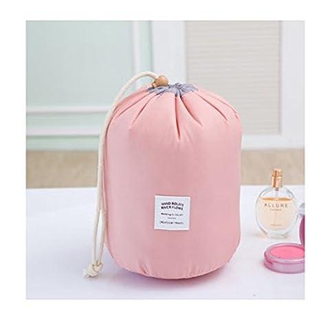 YSBER zylindrische Art kosmetische Tasche Drawstring Geräumige Make up Aufbewahrungsbeutel Tragbare High Capacity Kosmetiktasche(Rosa)