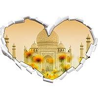 Taj Mahal a forma di cuore estate nel formato sguardo, parete o adesivo porta 3D: 92x64.5cm, autoadesivi della parete, decalcomanie della parete, Wanddekoratio