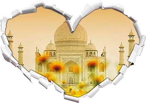 Taj Mahal en forme de coeur de l'été dans le regard 3D, mur ou un autocollant de porte Format: 92x64.5cm, Stickers muraux, Stickers muraux,