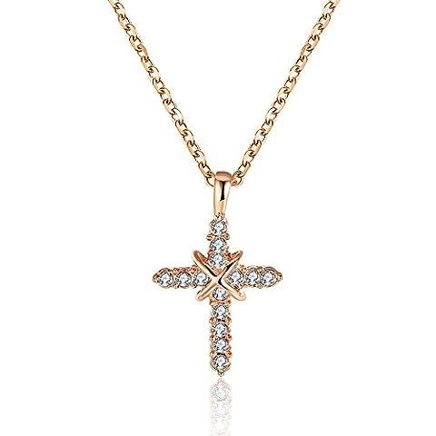Bodya Plaqué or X Collier Pendentif Oxyde de Zirconium Croix chrétienne religieuse Bijoux Chaîne de 50,8cm - rose gold