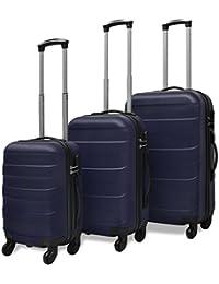 vidaXL Set Trolley Maleta Rígida Tres Uds. Plateado/Negro/Rojo/Azul