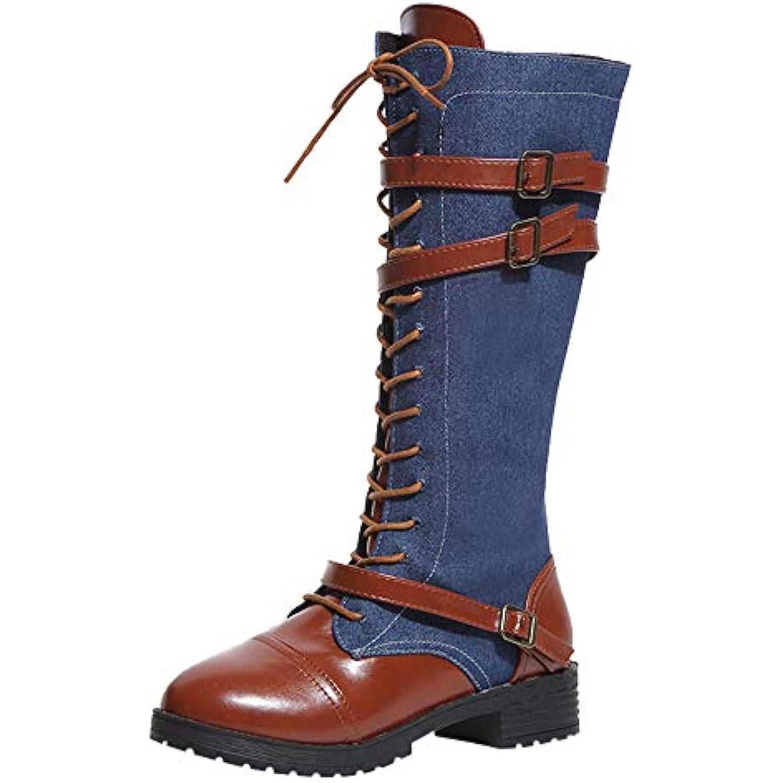 Bottines Femme,Yesmile Femmes Dames Chaussures Cowboy Denim ÉQuitation Romaine Genou Bottes Cowboy Chaussures Haut Martin Bottes... - B07H97K7QM - bb7c4c