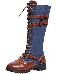 c39aaa81 ALIKEEY Mujer Zapatos De Mujer Denim Roman Riding Knee High Botas De  Vaquero Long Boots Aire