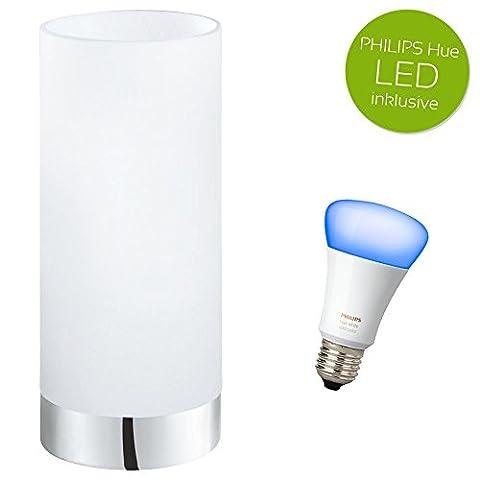 Tischleuchte Damasco Tischlampe chrom, Glas weiß E27 inkl. Philips Hue LED White Ambiance & Color