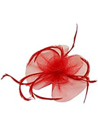 Elegant red net flower and feathers fascinator on hair clip & brooch pin. Ideal for wedding, ladies day, Ascot, special occasion