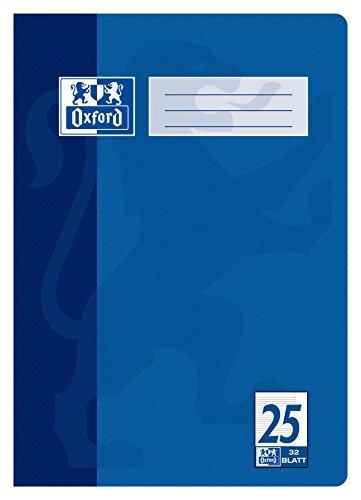 "OXFORD 100050329 \""Schule\"" Schulheft   1 Stück   A4   32 Blatt   90 g/m²   Lineatur 25 - liniert mit Rand   blau"