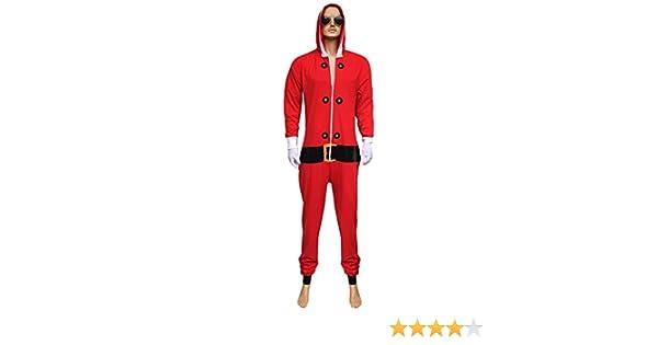 Womens Mens Unisex Red Santa Green Elf Christmas Jumpsuit Xmas Novelty Costume