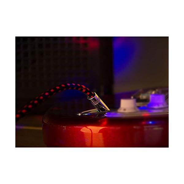 Amosic Cavo per Chitarra/Basso/Tastiera con Rivestimento in Tweed Intrecciato di 3 Metri da Jack Dritto 6.3mm a Jack Angolo a Destra di 6.3mm (3M)