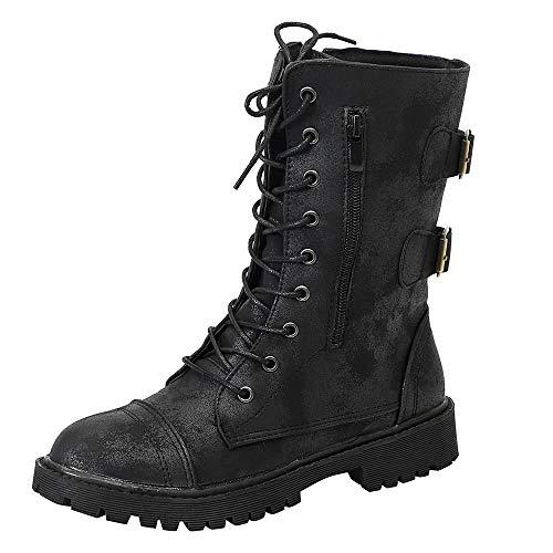 Logobeing Zapatos de Mujer Denim Botas Altas de Vaquero Romano de Mujer  Botas Largas Militar Tacones 5fcc8457c16d