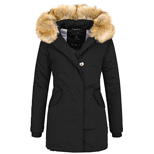 Marikoo KARMAA Damen Jacke Parka Mantel Winterjacke warm gefüttert Luxus XXL Kunstpelz 7 Farben, Farbe:Schwarz, Größe:M / 38