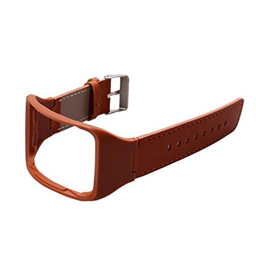 Holaca Ersatz-Armband mit Ladegerät für SM-R750, Zinklegierung & Echtleder, mit Dock-Ladegerät für Samsung Galaxy Gear S SM-R750, R750 Brown Leather Band