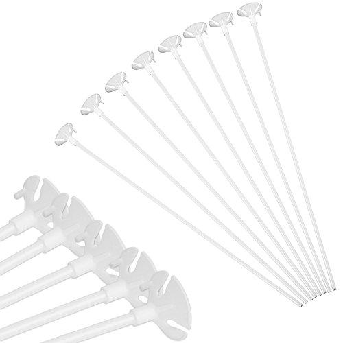 lastikstäbe Ballon Halter Sticks 32 cm mit Cups Weiß für Hochzeit, Party und Dekor ()