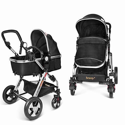 Besrey Carro Bebe Carrito 2 en 1 Cochecito para bebe infantil 0-36 meses Gran Rueda Con...