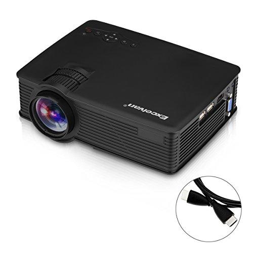 Excelvan ehd09 mini proiettore 1080p 3d proiettore, led 1200 lumens, 800 x 480 pixel, portatile multimedia con cavo hdmi /usb/sd/av/vga per family entertainment/ home cinema/ bambini di apprendimento entertainments (nero)