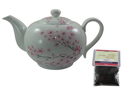 Set Jameson & Tailor Teekanne - Dekor Kirschblüten- aus Brilliant-Porzellan + einen Probierbeutel - Kleine Freuden- Schwarztee Vanille Finest & Friends 10g