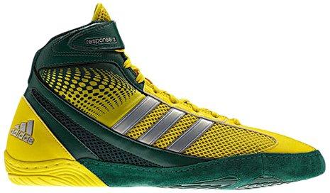 Adidas Wrestling Response 3.1 Wrestling chaussures, noir / argent métallisé / noir, 5 M Us Forest/Vivid Yellow/Metalic Silver