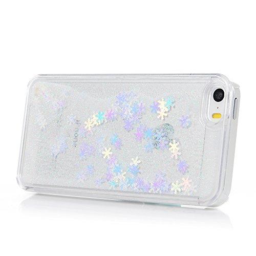 YOKIRIN Hardcase Schutzhülle für iPhone 5/5S/SE Schnee Treibsand Case Cover Hartschale Handyhülle Tasche Skin Schale PC Backplane Handytasche Etui Pink Weiß
