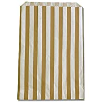 100x Gold Medium Candy Stripe Paper Bags Sweet Favour Buffet Gift Shop Party Sweets Cake Wedding