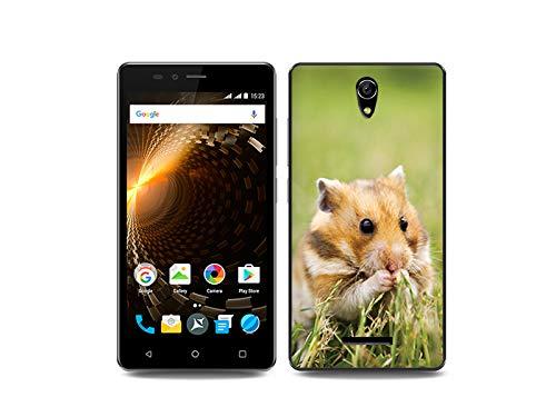 etuo Handyhülle für Allview P6 Energy Lite - Hülle, Silikon, Gummi Schutzhülle Foto Case - Hamster auf der Wiese