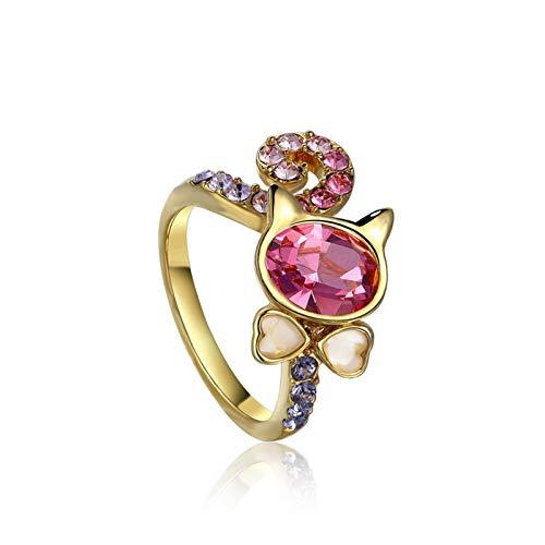 Knsam placcato oro cat ring per donne rosa swarovski cristallo ovale dimensione 12