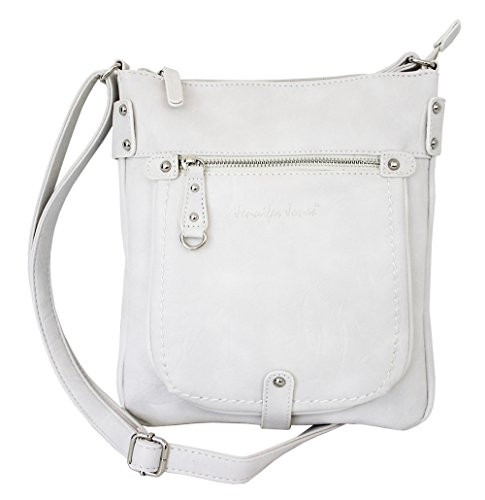 Damen Tasche Handtasche Schultertasche kleine Umhängetasche für Frauen Crossbody Bag Damentasche in Weiß (3110)