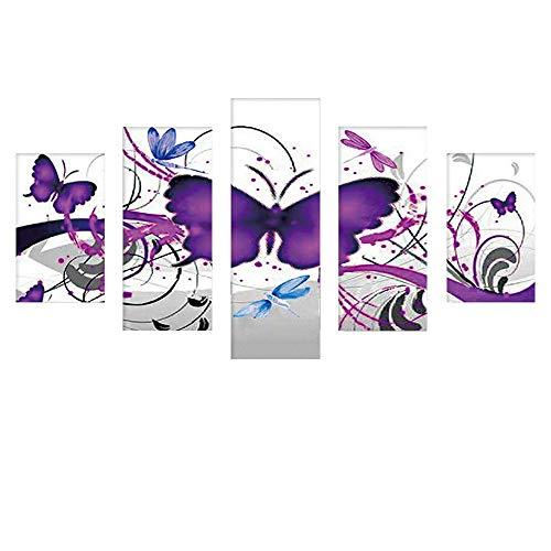 5D Full Bohrer Diamant Malerei 5-Pictures Kombination Diamant Painting Set handgefertigt DIY Stickerei Naht Geschenk Arts Crafts für Haus Wand Büro Wohnzimmer Schlafzimmer Decor (Winter Arts Crafts And)