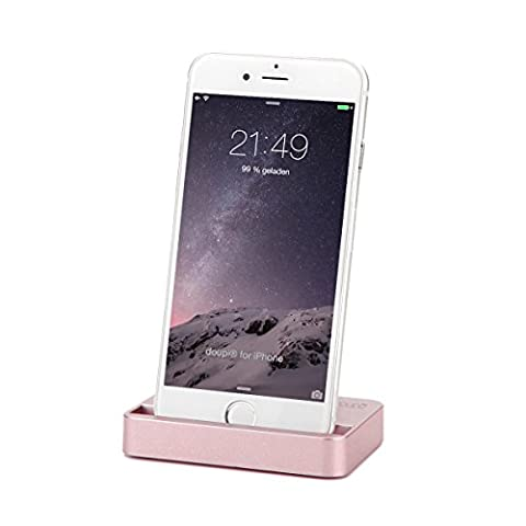 doupi Docking Station for iPhone 8 / 8 Plus, iPhone X ( 10 ), iPhone 7 / 7 Plus, iPhone 6 / 6S / Plus, iPhone SE 5S 5 5C with lightning connector Dock Charger Stand Holder, Rose Gold