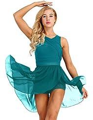 119a7c2dd3492 Freebily Women Ballet Dance Costume Leotard Lyrical Dress Illusion V-Neck  Chiffon Flowy High-