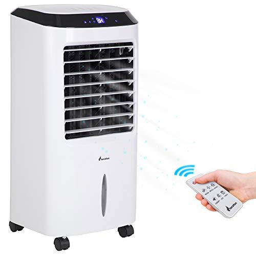 Bakaji raffrescatore ventilatore umidificatore portatile ad acqua ghiaccio 3 velocità contenitore acqua 10 litri telecomando pannello led touch e ruote dimensioni 43 x 37 x 69 cm bianco nero