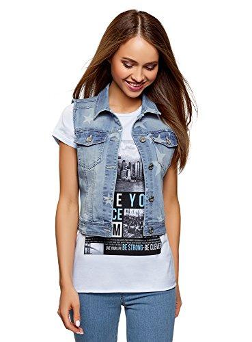 oodji Ultra Donna Gilet in Jeans con Stampa Stelle, Blu, IT 42 / EU 38 / S